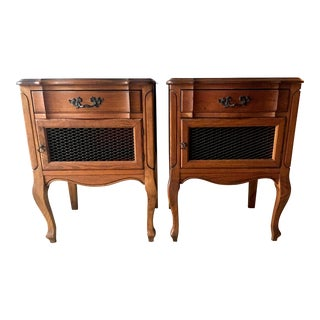20th Century French Provincial Walnut Nightstands - a Pair For Sale
