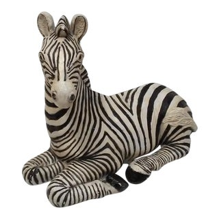Hollywood Regency Large Zebra Statue For Sale