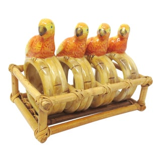 Hand Painted Ceramic Parrot Napkin Rings in a Bamboo Holder - Set of 4 For Sale