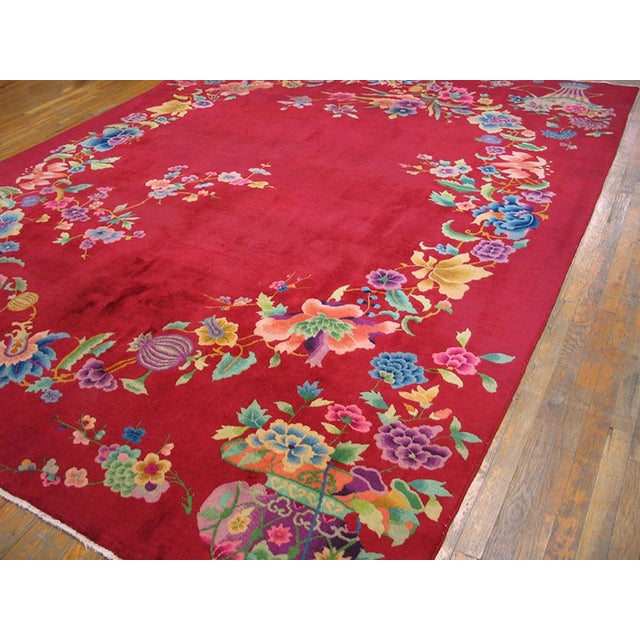 "1930s Chinese Art Deco Rug - 8'9""x11'6"" For Sale - Image 4 of 10"