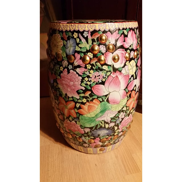 Vintage Chinoiserie Gilded Floral Garden Stool - Image 5 of 9