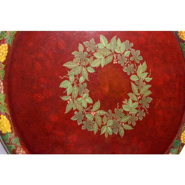 """Burgundy Antique Floral Tole Tray, 48"""" Across, C.1890 French For Sale - Image 8 of 12"""