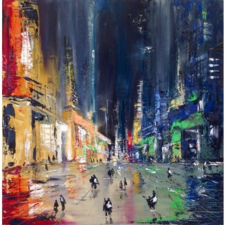 """""""City Lights 1"""" Oil Painting by Ivana Milosevic For Sale"""