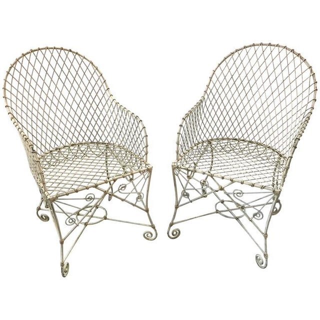 French Painted Wire Tub Back Chairs - a Pair - Image 10 of 10