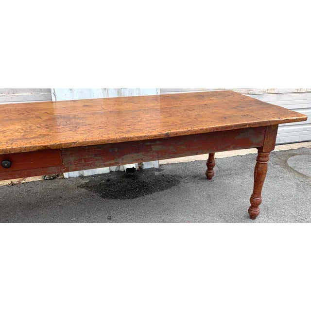 Late 19th Century Southern Red Paint and Chestnut Farm Table For Sale - Image 4 of 13