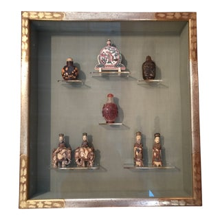 Antique Snuff Bottles in Shadow Box For Sale