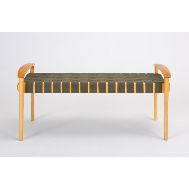 Contemporary American-Made Maple Bench With Woven Seat by Tom Ghilarducci For Sale - Image 3 of 13