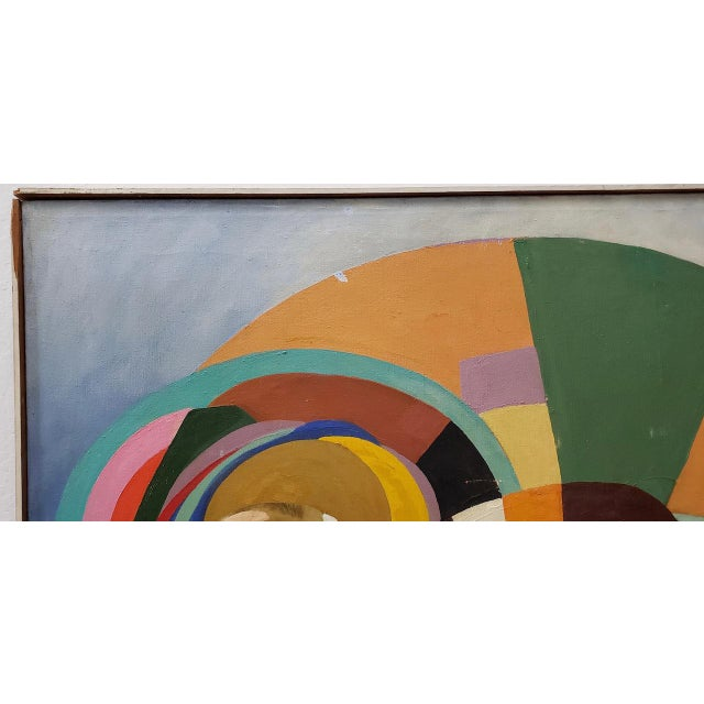 Abstract Large Scale Vintage Mid Modern Oil Painting by Larsen C.1940s For Sale - Image 3 of 13