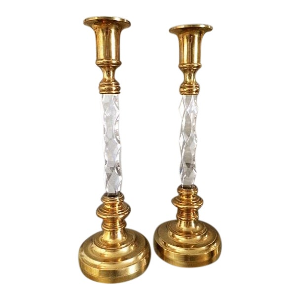 Vintage Hollywood Regency Tall Brass and Lucite Candlestick Holders - a Pair For Sale