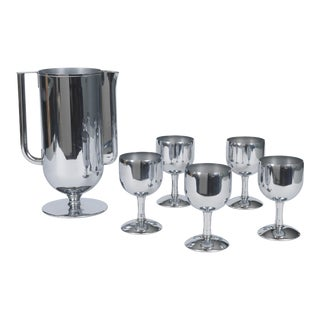 1930s Art Deco Silver Chrome Pitcher and Glasses Set - 6 Pieces