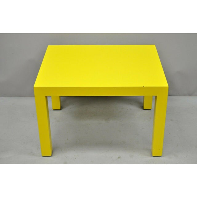 1970s Contemporary Thayer Coggin Milo Baughman Yellow Parsons End Table For Sale - Image 10 of 11