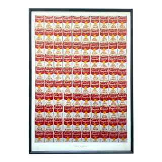 "Andy Warhol Rare Vintage 1978 Iconic Lithograph Print Framed Collector's Pop Art Poster "" 100 Cans "" 1962 For Sale"
