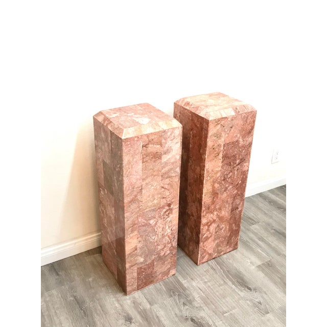Vintage Tessellated Regency Marble Pedestals - a Pair For Sale In Los Angeles - Image 6 of 11
