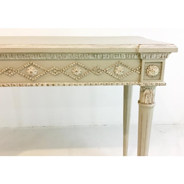 Stylish Ave Home Gustavian Swedish gray console table, showroom floor sample, original retail $2311