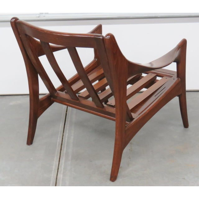 Modern Design Slatted Lounge Chairs - Pair - Image 5 of 6