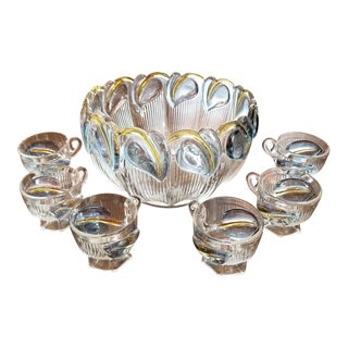 Art Deco Floral Punch Bowl & 6 Matching Glasses For Sale