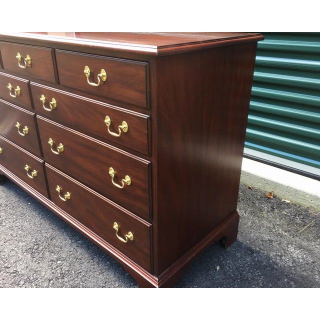Chippendale Henkel Harris Solid Mahogany Long Dresser For Sale - Image 3 of 13