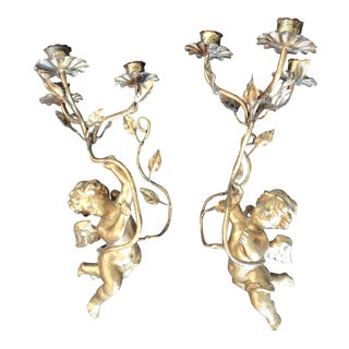 Gold Cherub Putti Candle Sconces - A Pair For Sale
