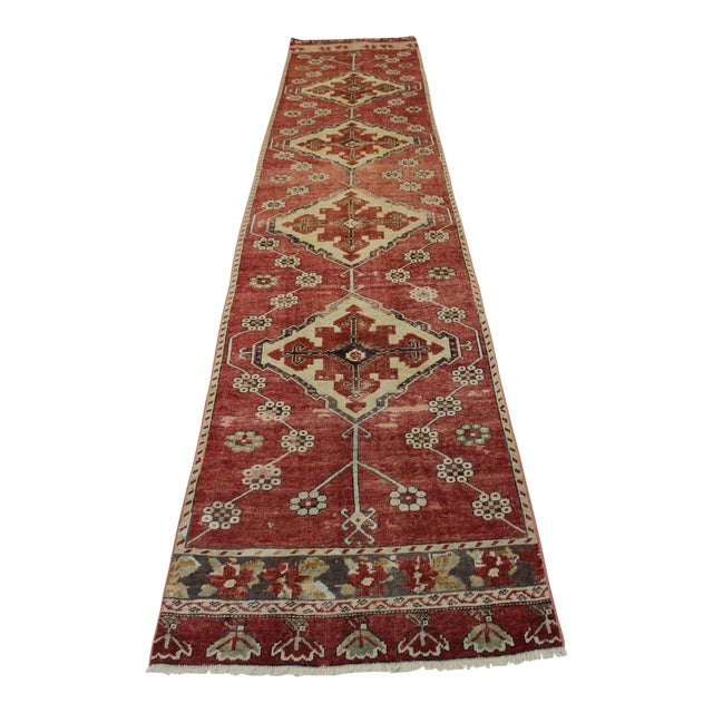 "Vintage Turkish Anatolian Runner - 2'10"" X 13' - Image 1 of 7"