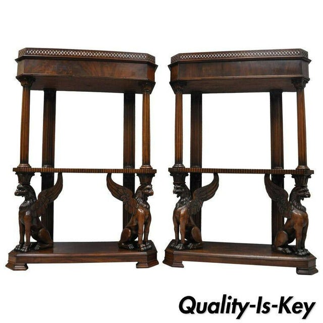 Mahogany Regency Style Carved Griffin Bookcase Horner Style-a Pair For Sale - Image 11 of 11