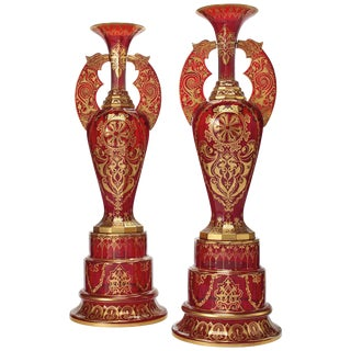 """Monumental Pair of Ruby Red Gilt Bohemian """"Alhambra"""" Cut Glass Vases on Stands For Sale"""
