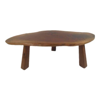 Unique Vintage Modern Tree Slab Coffee Table For Sale