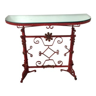 Italian Red Iron Demilune Console Table For Sale