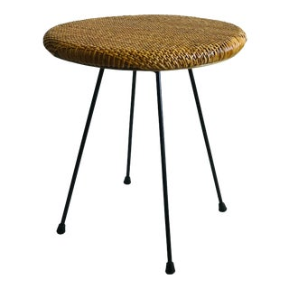1950s French Style Rattan and Iron Side Table For Sale