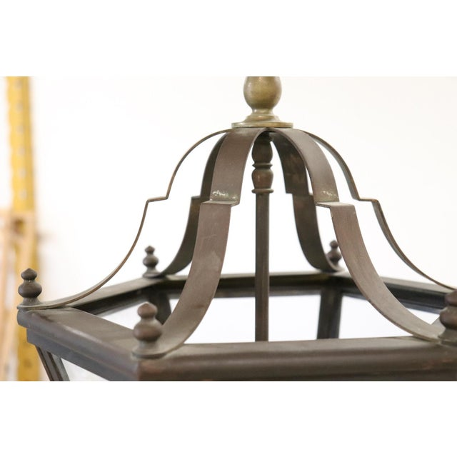 20th Century Italian Brass Lantern Three Lights For Sale - Image 4 of 8