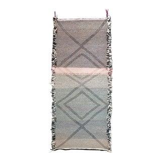 Double-Sided Moroccan Zanafi Flat Woven Mini Wool Rug For Sale
