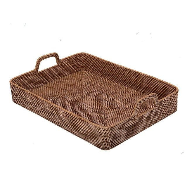 Rattan Cottage Style Rattan Woven Large Handled Tray For Sale - Image 7 of 9