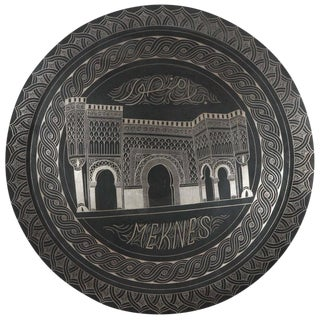 Moroccan Hanging Black Metal Tray From Meknes For Sale