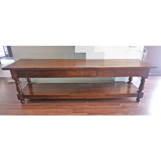 Large 19th Century Spanish Refectory Walnut Farm Table or Console 19th century refectory walnut farm table. This solid and...