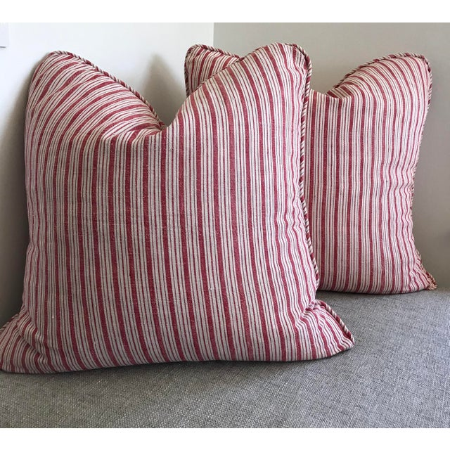 Red Vintage French Ticking Stripe Pillow Covers in Red - a Pair For Sale - Image 8 of 8