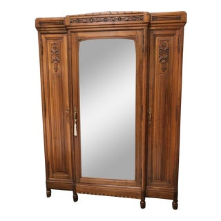 Vintage English Walnut Three Door Armoire With Mirror