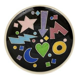 1988 Signed Artist Studio Pottery Pop Art Dish For Sale