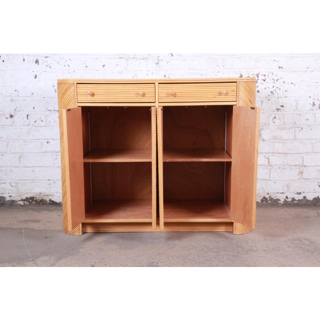 Gabriella Crespi Style Split Reed Rattan Sideboard Cabinet For Sale - Image 10 of 13