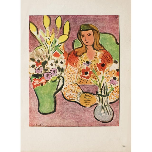 """Lithograph 1946 H. Matisse """"Girl With Anemones on Purple Background"""", Original Parisian Lithograph For Sale - Image 7 of 8"""