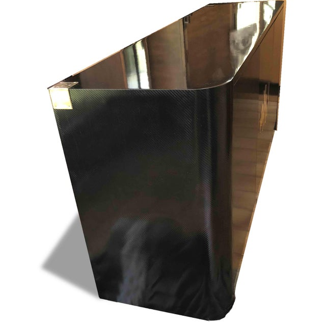 Metal 1970s Hollywood Regency Black and Gold Mirror Scribble Credenza For Sale - Image 7 of 12
