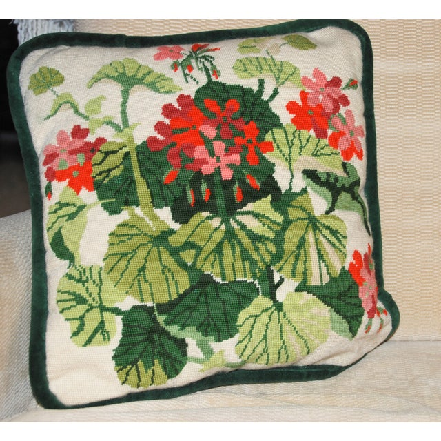 Vintage Geranium Needlepoint Pillow - Image 3 of 6