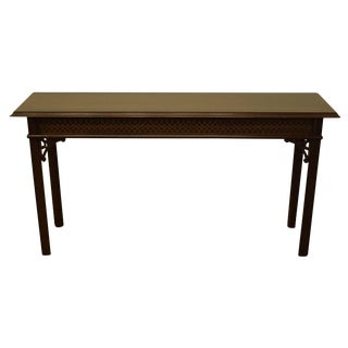20th Century Traditional Councill Craftsmen Banded Mahogany Sofa Table For Sale