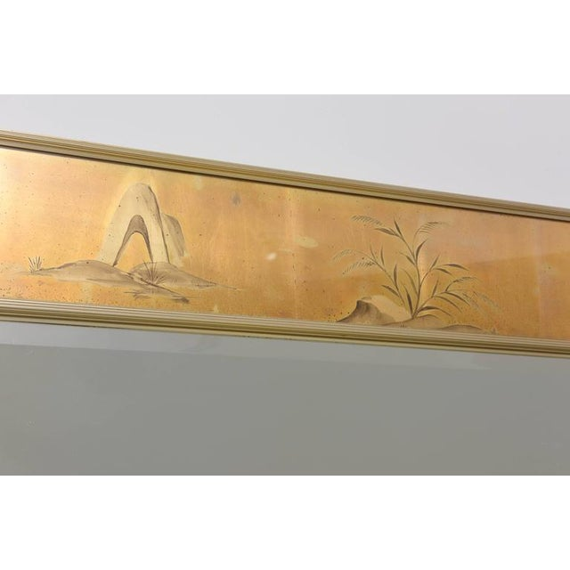 Gold La Barge Mirror With Eglomise Style Panels Depicting Chinoiserie Scenes in Gold For Sale - Image 8 of 10