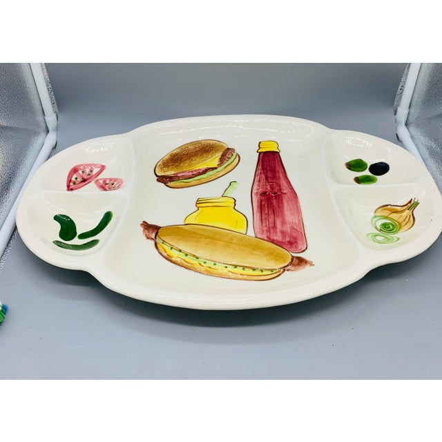 Vintage Los Angeles Potteries BBQ Platter With Divided Sections For Condiments This platter is so much fun and the perfect...