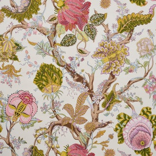 Sample- Schumacher Indian Arbre Wallpaper in Spring For Sale
