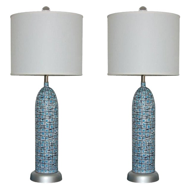 Marbro Italian Ceramic Table Lamps and Bowls Blue For Sale
