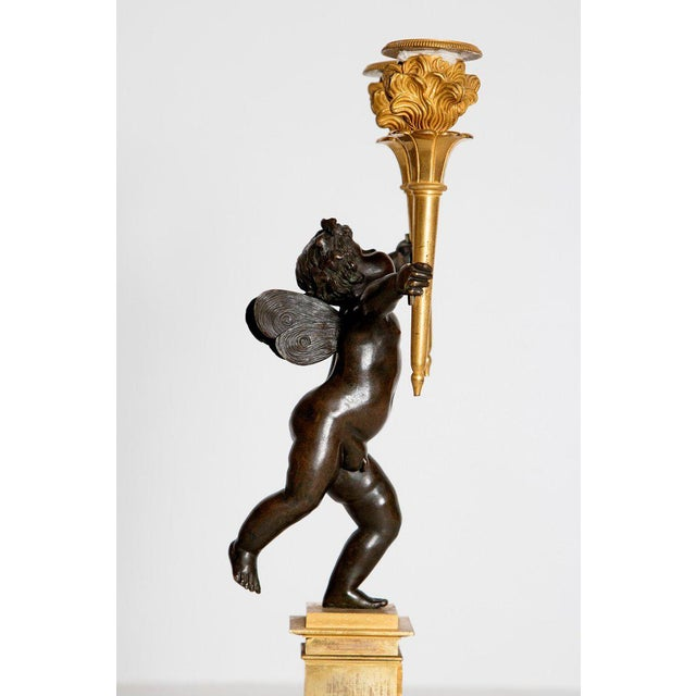 Pair of French Charles X Patinated Bronze and Gilt Figurative Candelabras For Sale - Image 4 of 13