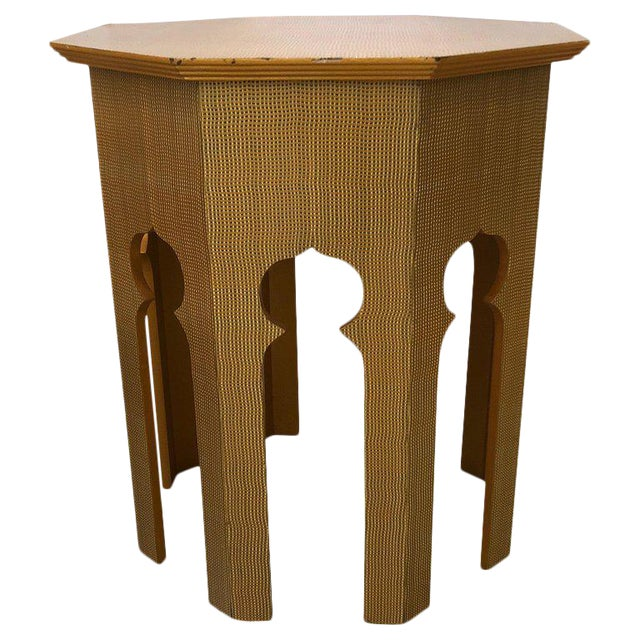Moroccan Inspired Grass Cloth Wrapped Side Table For Sale