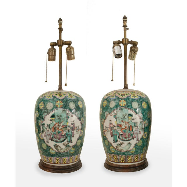 Asian Chinese Style Ginger Jar Shaped Green Porcelain Table Lamps- a Pair For Sale - Image 4 of 4
