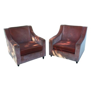 Vintage Orange Velvet Arm Chairs - A Pair