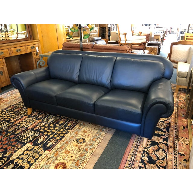 Navy Blue Leather Sofa by Chateaux L\' Ax | Chairish